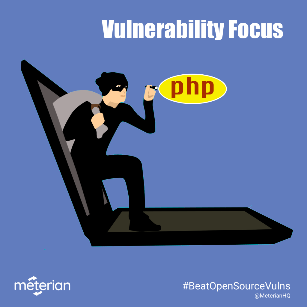Image of thief climbing out of laptop shining flashlight on PHP icon, titled Vulnerability Focus: PHP.