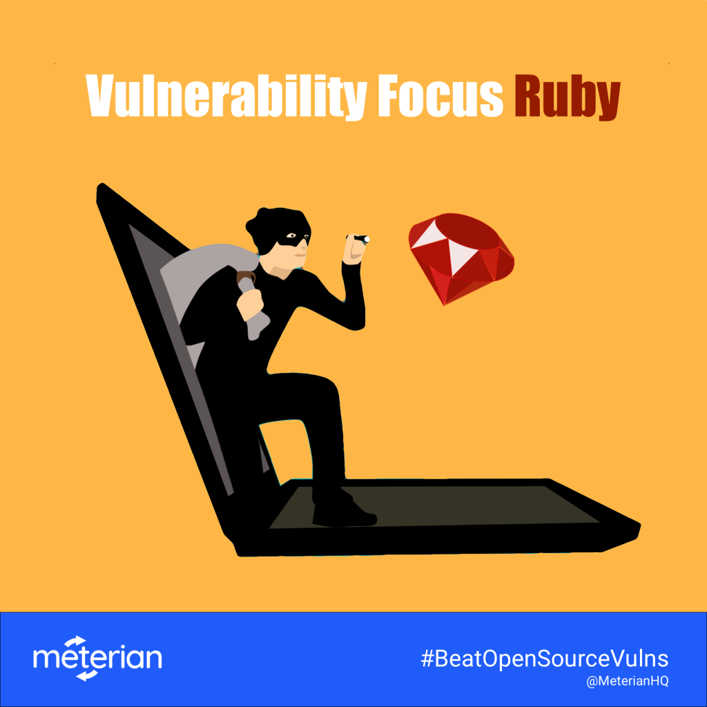 Image of thief climbing out of laptop shining flashlight on Ruby icon, titled Vulnerability Focus: Ruby.