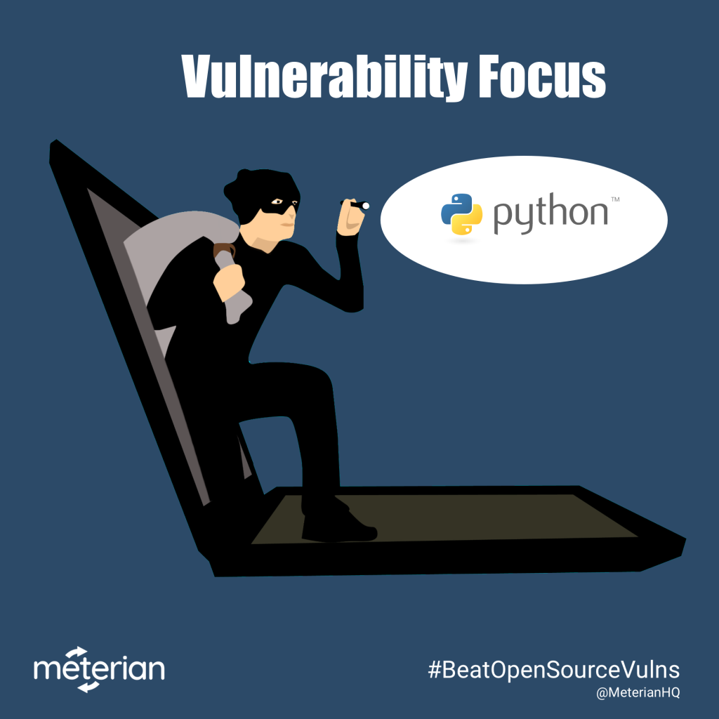 Image of thief climbing out of laptop shining flashlight on Python icon, titled Vulnerability Focus: Python.