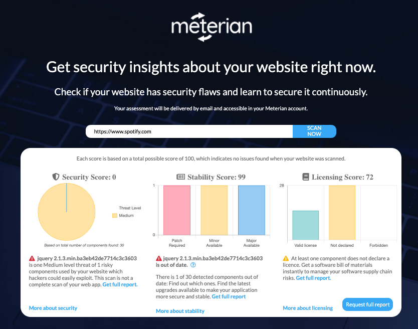 Meterian web scanner scan of www.Spotify.com, showing a security score of 0, a stability score of 99, and a licensing score of 72